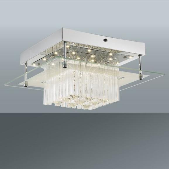 Mennyezeti Lámpa Gino - Króm/Átlátszó, modern, Műanyag/Üveg (28/28/13cm) - Mömax modern living
