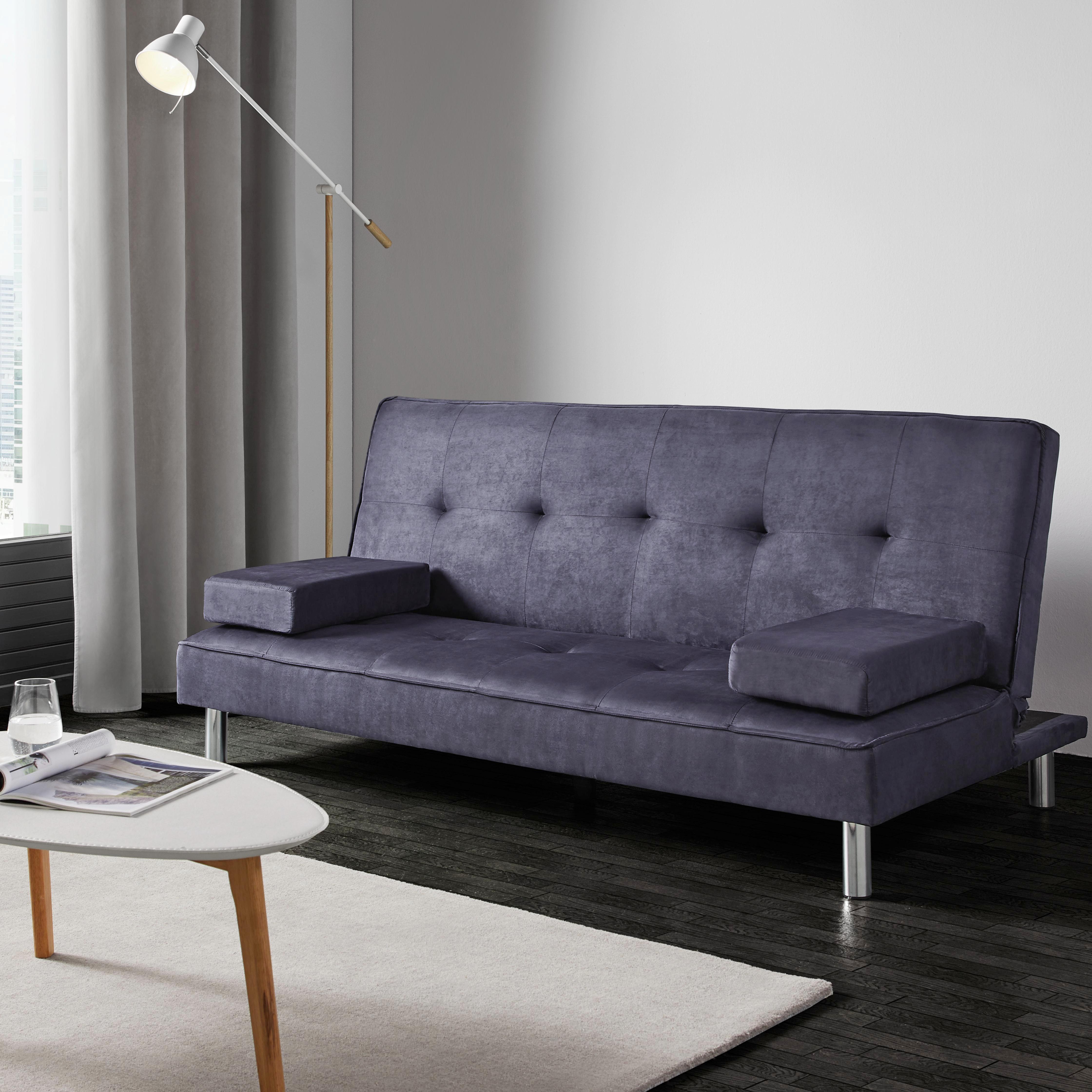 Schlafsofa Esther   Blau/Grau, MODERN, Kunststoff/Textil (180/80
