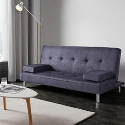 Schlafsofa Esther inkl. Kissen - Blau/Grau, MODERN, Kunststoff/Textil (180/80/83cm) - MODERN LIVING