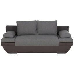Schlafsofa in Grau mit Kissen - Dunkelgrau/Hellgrau, Textil/Metall (205/76/95cm) - Premium Living
