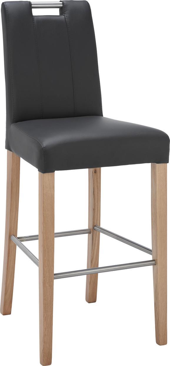 Barhocker in Schwarz - Eichefarben/Schwarz, MODERN, Holz/Textil (48/111,5/54,5cm) - MODERN LIVING