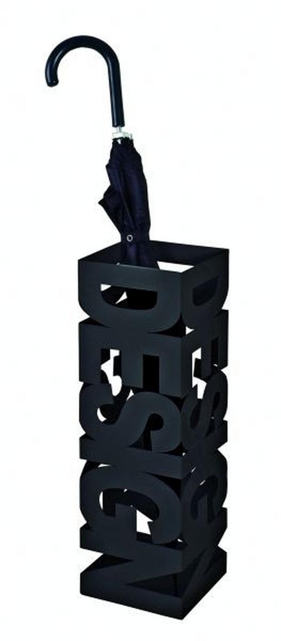 Esernyőtartó Betűmintás - Fekete, modern, Fém (16/48/16cm)