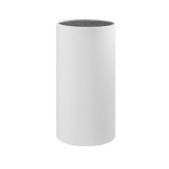Messerblock Thorsten inkl. Borsteneinsatz - Weiß, KONVENTIONELL, Kunststoff (11/22cm) - Mömax modern living