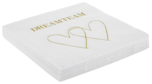 SERVIETE DREAMTEAM - zlata/bela, papir (33/33cm)