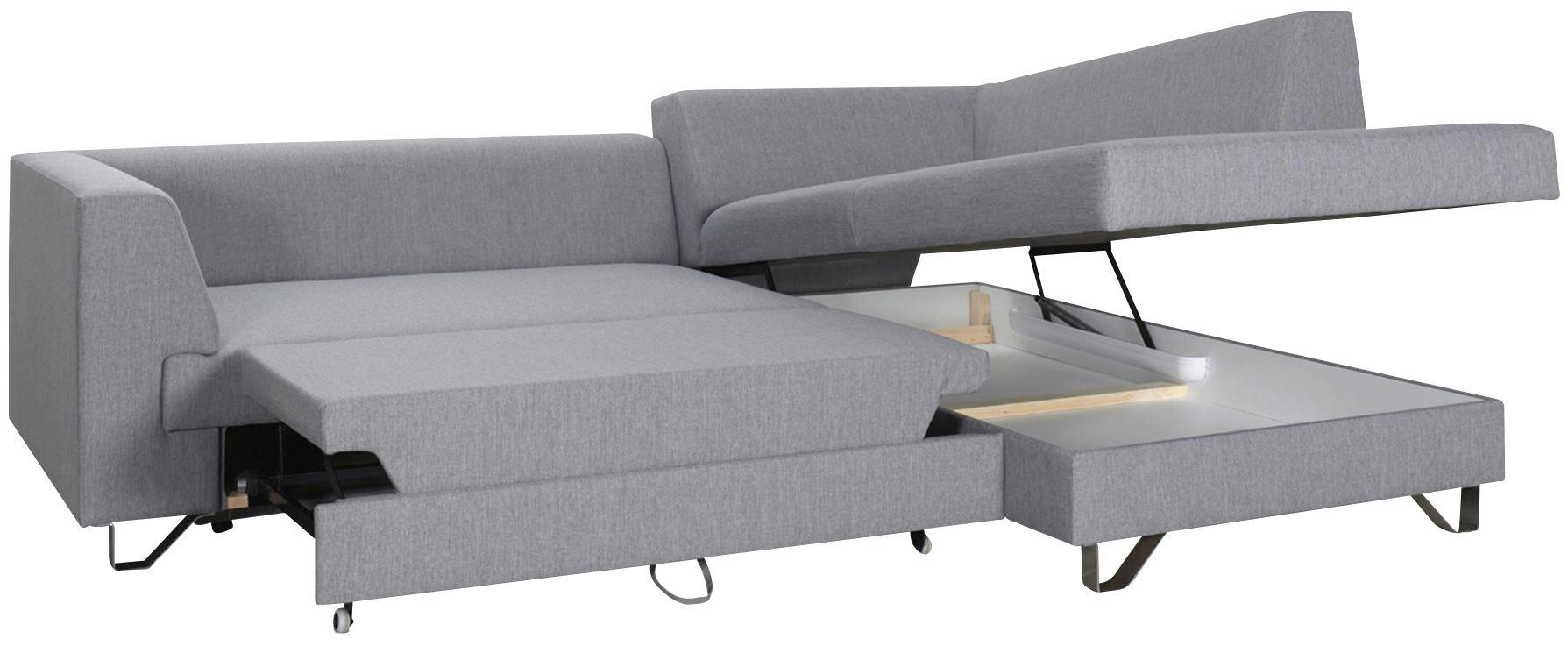 Wohnlandschaft Grau mit Bettfunktion - Silberfarben/Hellgrau, MODERN, Textil (280/196cm) - PREMIUM LIVING