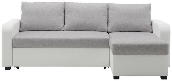 Wohnlandschaft Grau mit Bettfunktion - Schwarz/Weiß, KONVENTIONELL, Kunststoff/Textil (225/152cm) - Modern Living