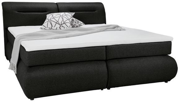 Boxspringbett Dunkelgrau 180x200cm - Dunkelgrau/Schwarz, Kunststoff/Textil (240/190/100cm) - Premium Living
