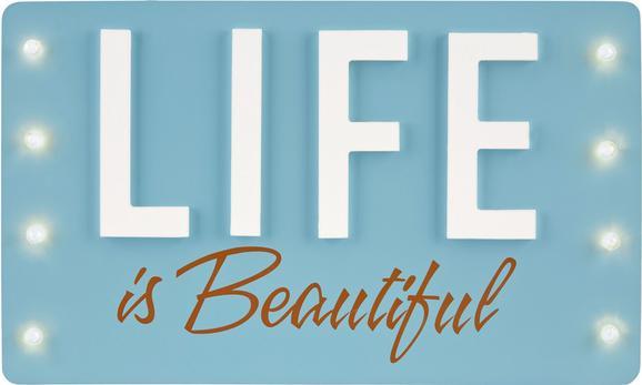Objektbild Beautiful, 35x21x4cm - Hellblau, LIFESTYLE, Holzwerkstoff (35/21/4cm)