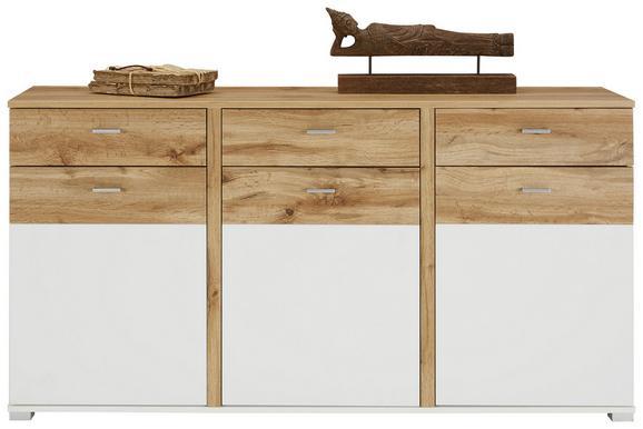 Komoda Alamo - bela/hrast, Moderno, kovina/leseni material (170/88/44cm) - Modern Living
