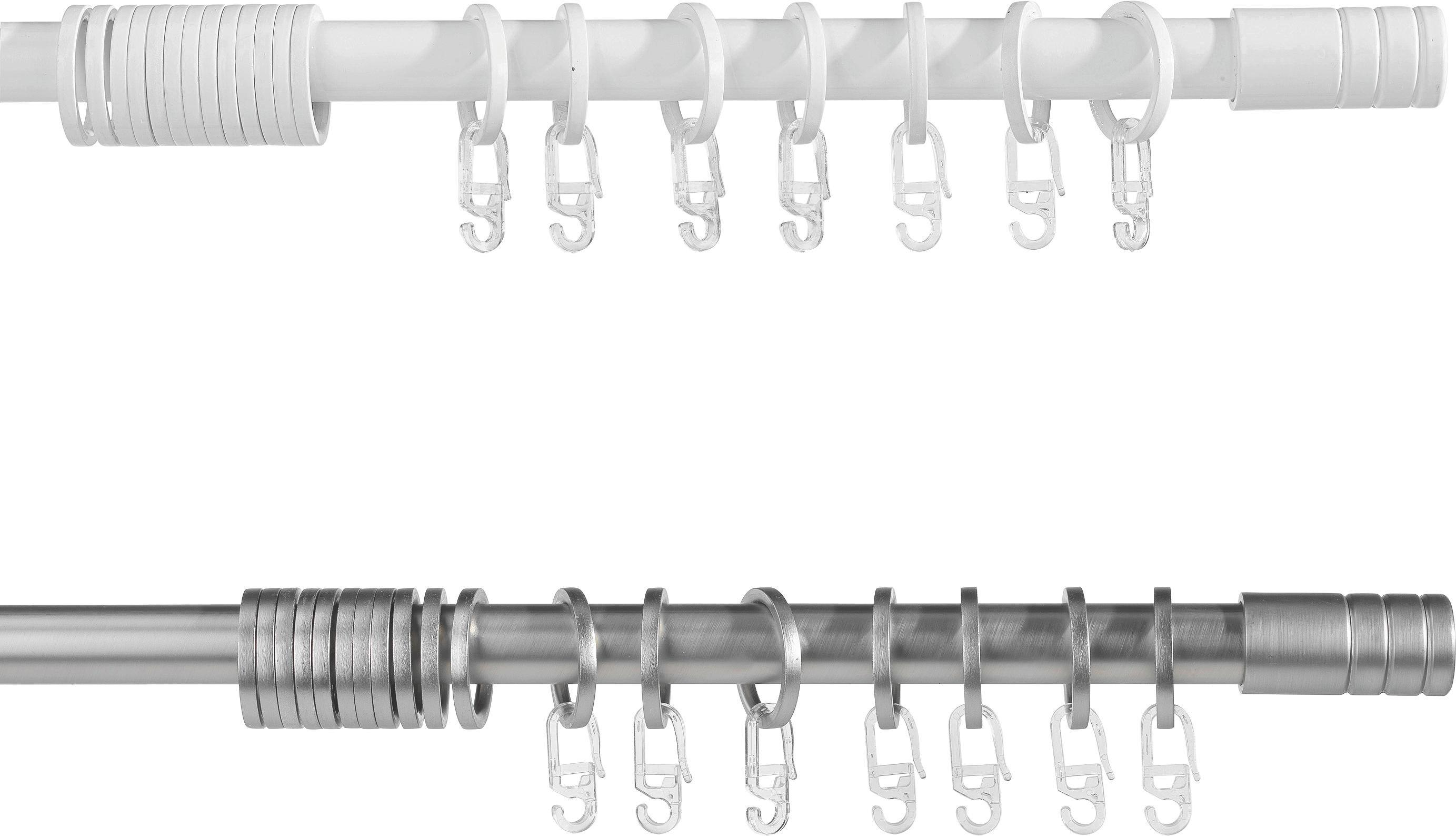 Vorhangstangenset Rillcube, ca. 160-280cm - Edelstahlfarben, Metall (160-280cm) - MÖMAX modern living