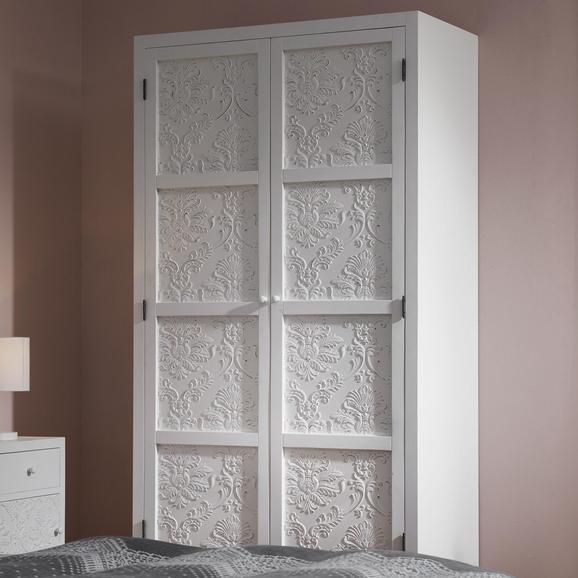 KLEIDERSCHRANK in weiß 'Valentina' - Weiß/Pinienfarben, MODERN, Holz (95/190/48cm) - Bessagi Home