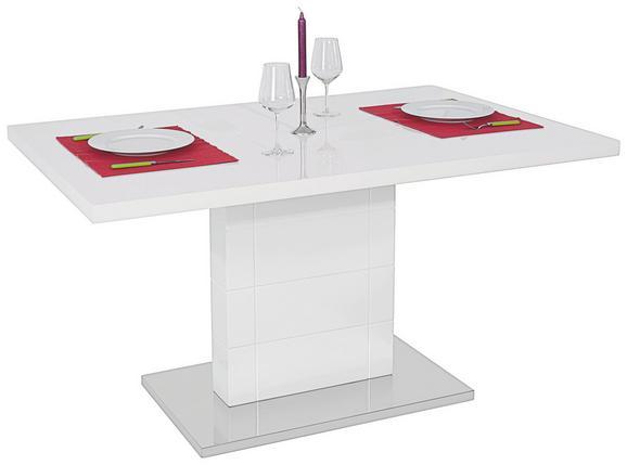 Étkezőasztal Otto 140 - Nemesacél/Fehér, modern, Faalapú anyag/Fém (140/76/90cm)
