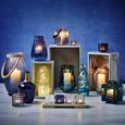 Teelichthalter in Blau Ø/H: ca. 18/17,33 cm 'Celine' - Blau/Schwarz, MODERN, Glas/Metall (18/17,33cm) - Bessagi Home