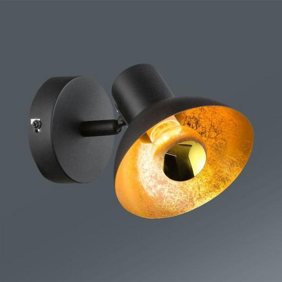 Led-reflektor Goldy - črna/zlata, Trendi, kovina (12/15,2/12,1cm)