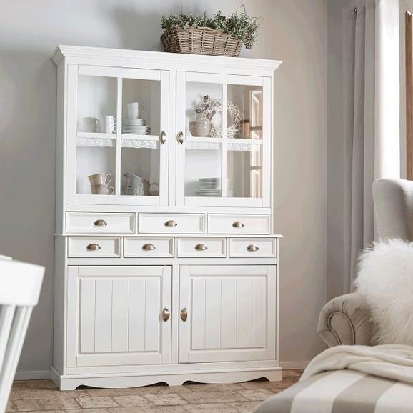 Buffet Claudia - Weiß, ROMANTIK / LANDHAUS, Glas/Holz (140/200/44,5cm) - Premium Living