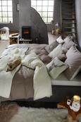 Bettwäsche Belinda Creme/Grau 140x200cm - Creme/Grau, Textil (70/90cm) - Premium Living
