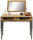 Schreibtisch Naturfarben/Grau - Naturfarben/Grau, LIFESTYLE, Glas/Holz (97/61/71/47/46/15cm) - Premium Living