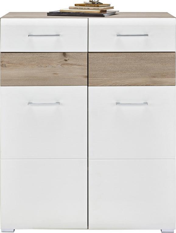 Schuhschrank in Silbereiche/Weiß - Chromfarben/Weiß, MODERN, Holz/Holzwerkstoff (85/105/40cm) - Premium Living