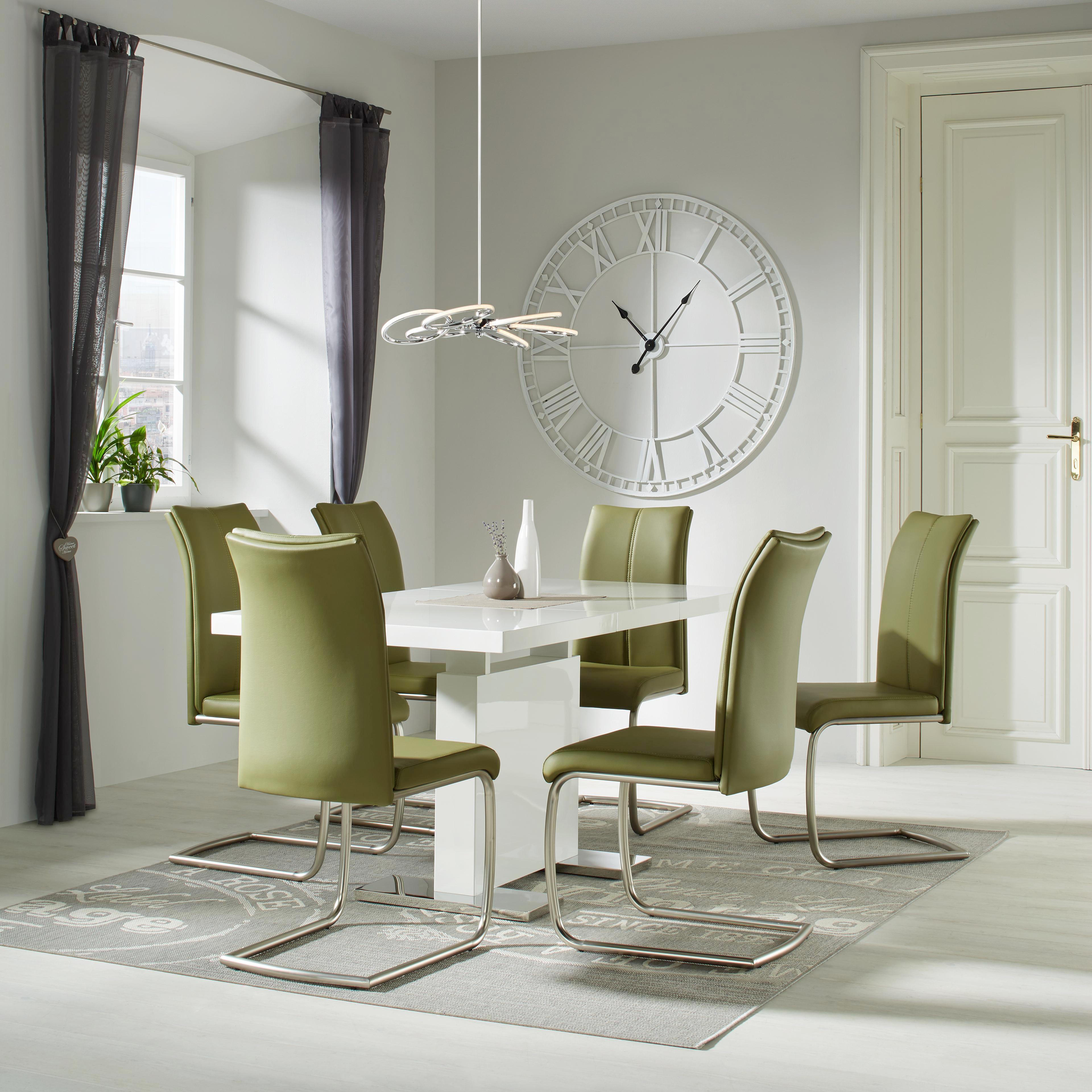 Esstisch in Weiß/Chrom - Chromfarben/Weiß, MODERN, Holzwerkstoff/Metall (120-160/76/80cm) - PREMIUM LIVING