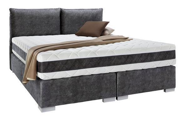 Boxspringbett Schwarz 160x200cm - Silberfarben/Schwarz, KONVENTIONELL, Holz/Holzwerkstoff (215/162/110cm) - Premium Living