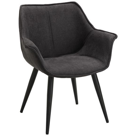 Stuhl in Grau - Schwarz/Grau, LIFESTYLE, Textil/Metall (63,5/75,5/67,5cm) - Modern Living