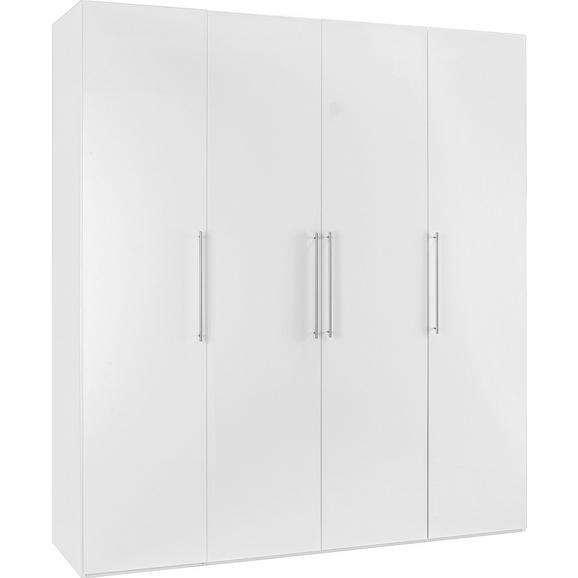 Drehtürenschrank in Weiß Hochglanz - Chromfarben/Weiß, KONVENTIONELL, Holzwerkstoff/Metall (196/219/60cm) - Modern Living