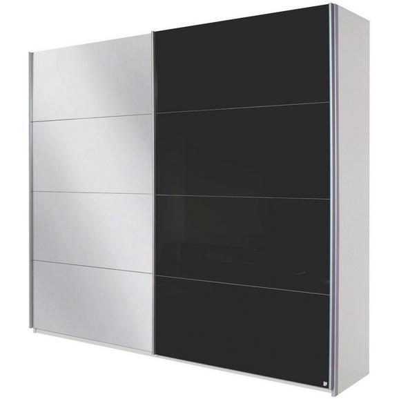 Omara Z Drsnimi Vrati Quadra - aluminij/črna, Moderno, kovina/leseni material (181/210/57cm) - Modern Living