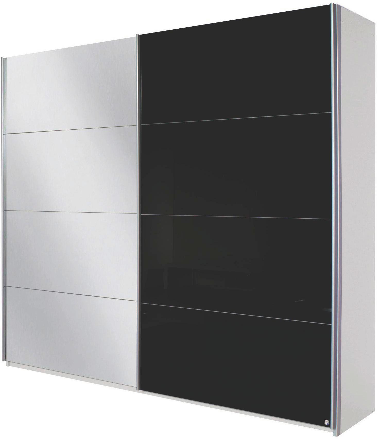 Schwebetürenschrank in Weiß/Schwarz - Alufarben, MODERN, Holzwerkstoff/Metall (226/229/61cm) - MODERN LIVING