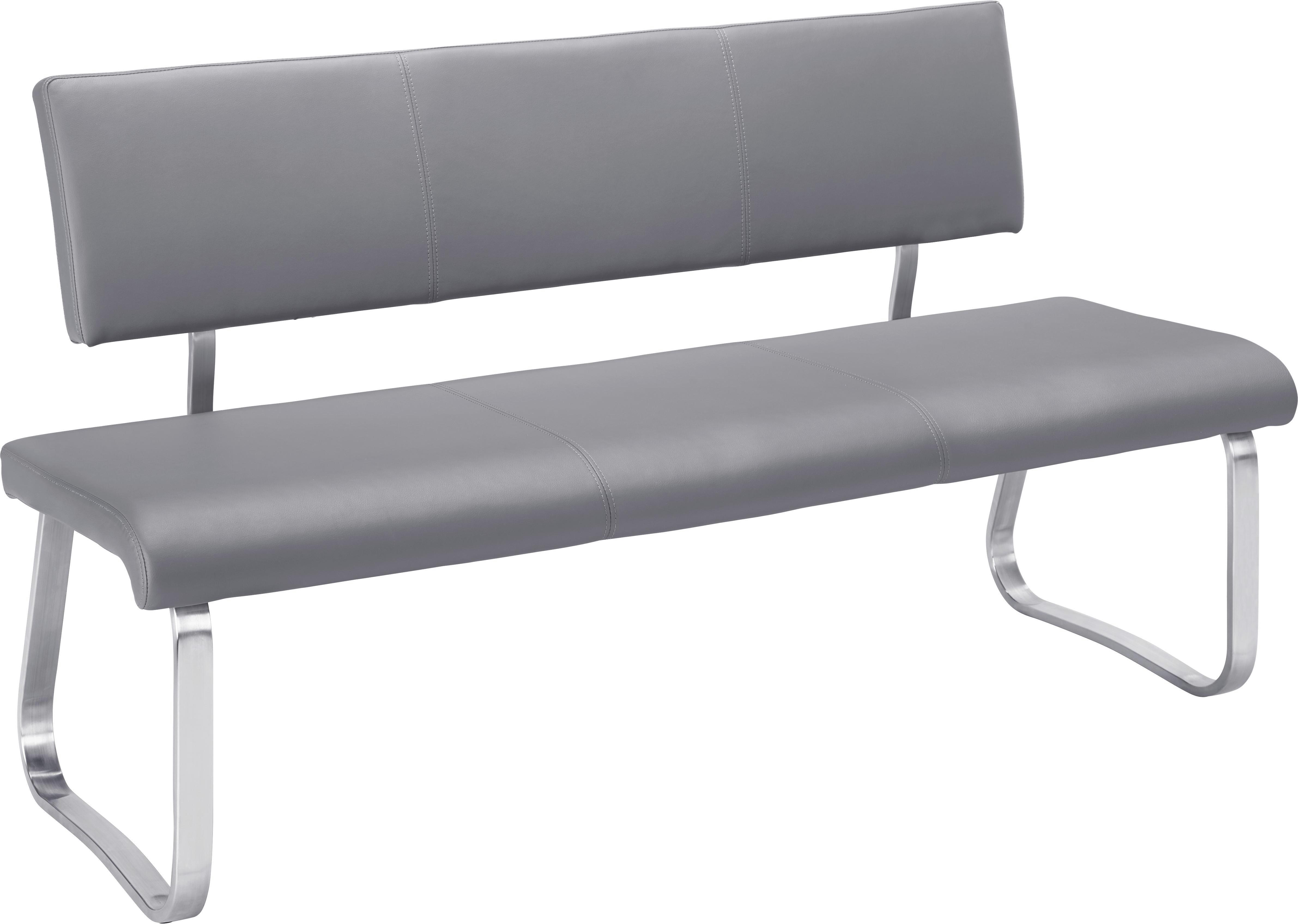 Sitzbank in Grau - Edelstahlfarben/Grau, MODERN, Textil/Metall (155/86/59cm) - PREMIUM LIVING