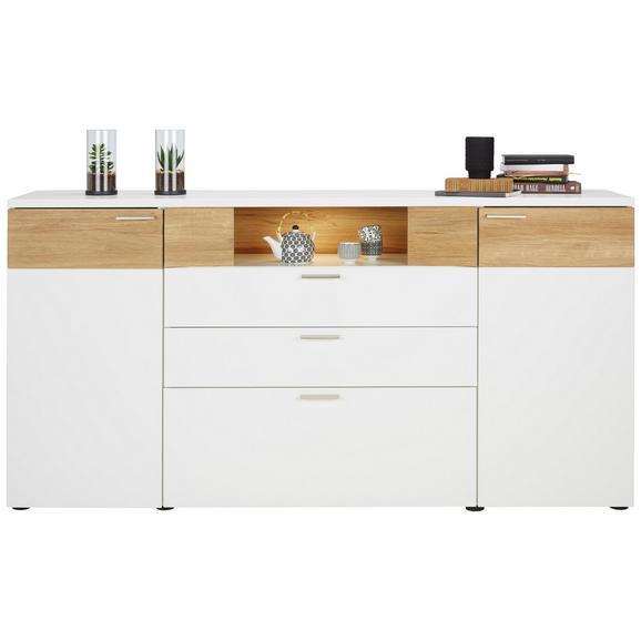 Sideboard aus Eiche Massiv - Edelstahlfarben/Eichefarben, MODERN, Holzwerkstoff/Kunststoff (180/96/40cm) - Premium Living