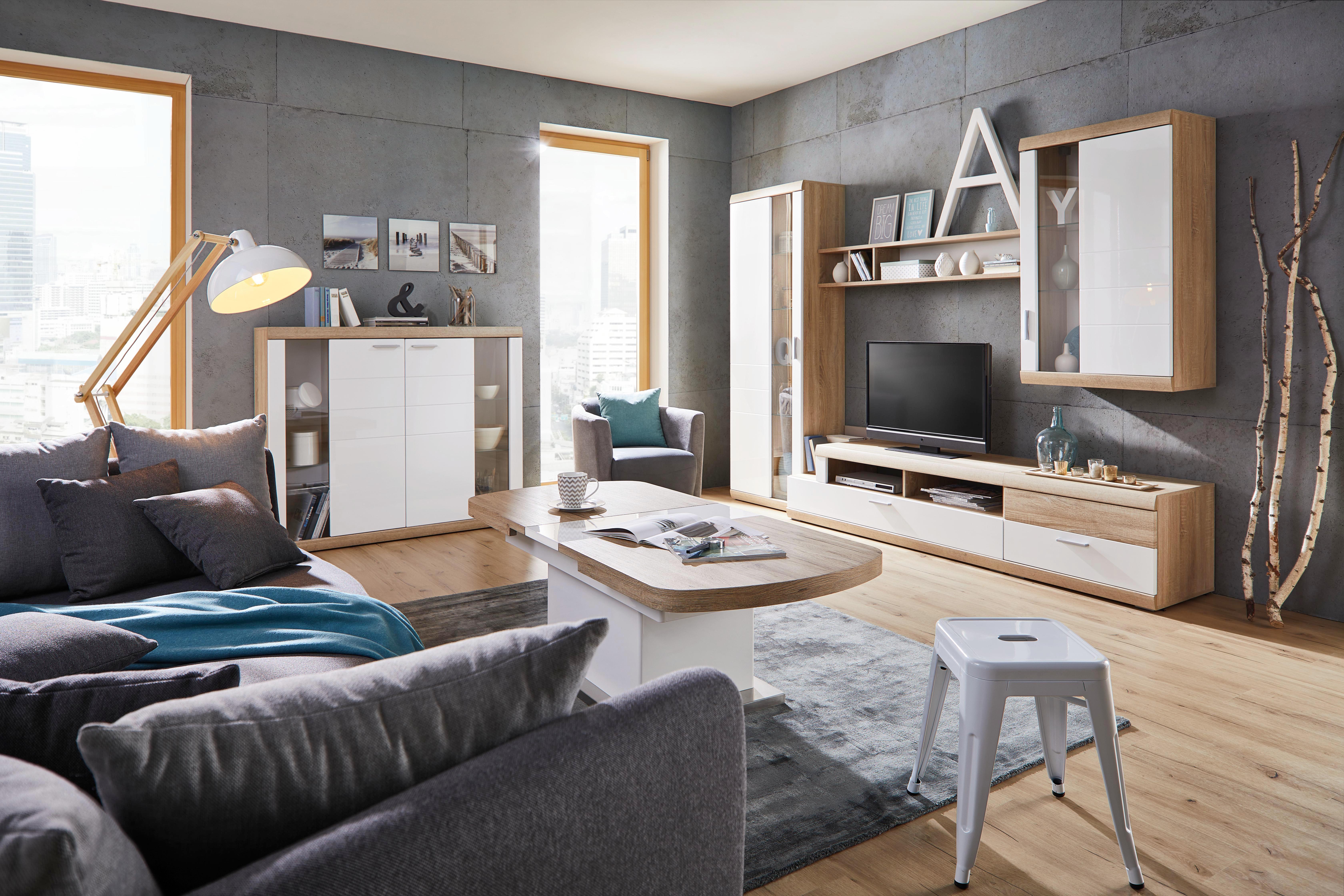 Wohnwand Weiß Hochglanz - Eichefarben/Weiß, MODERN, Holzwerkstoff (290/207/50cm) - PREMIUM LIVING