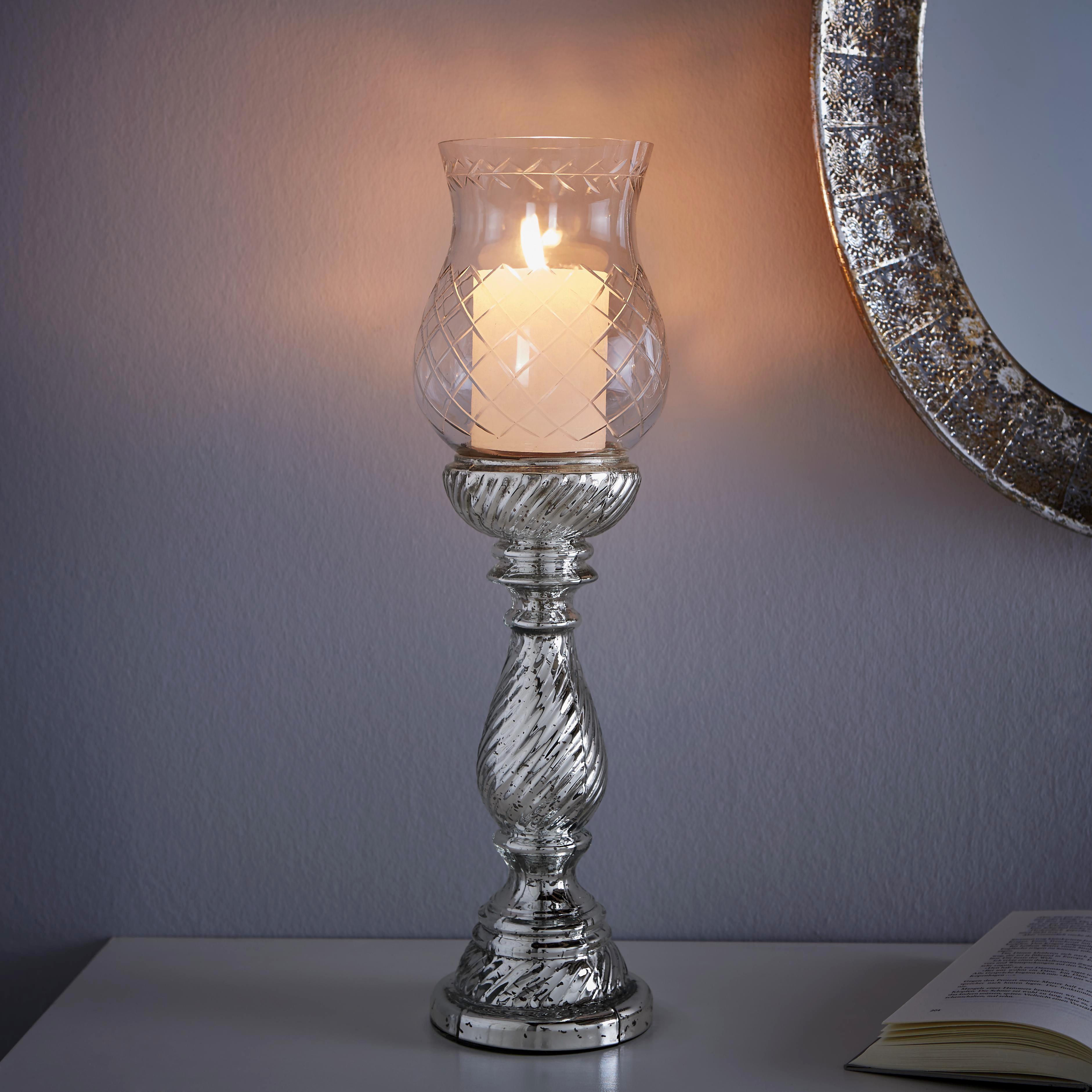 Kerzenhalter Charlott inkl. Glas - Klar/Silberfarben, KONVENTIONELL, Glas/Metall (13/46cm) - MÖMAX modern living