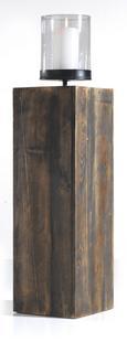Windlicht Ria inkl.glas - Dunkelbraun, Glas/Holz (20/20/84,5cm) - Mömax modern living