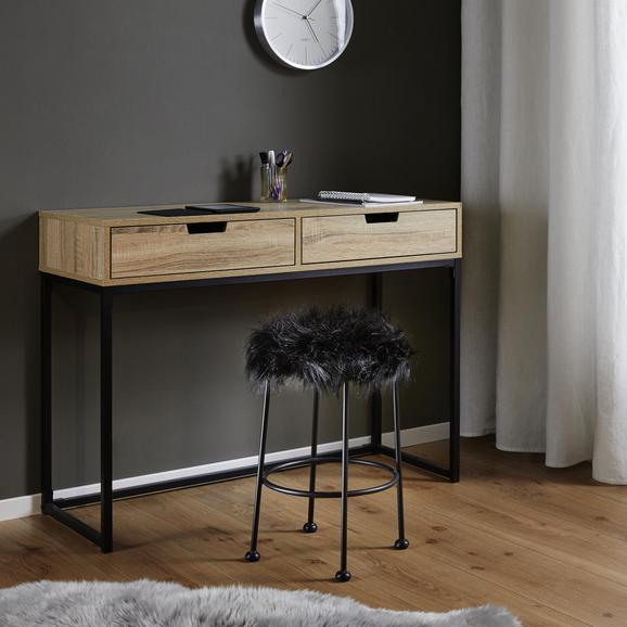 Hocker Luzie - Schwarz, MODERN, Fell/Metall (30/50cm) - Mömax modern living