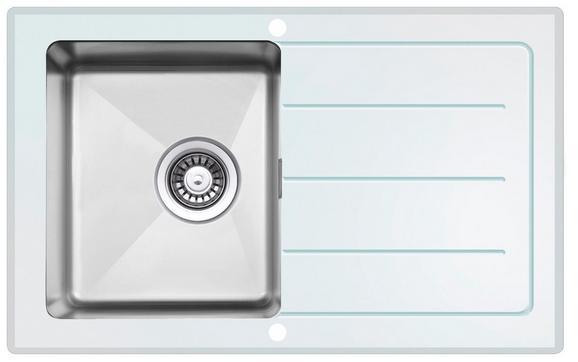 Spüle New York - Weiß, MODERN, Glas/Metall (86/21/50cm)