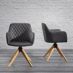 Armlehnstuhl Fenna - Dunkelgrau, MODERN, Holz/Textil (53/84/42,5cm) - Modern Living