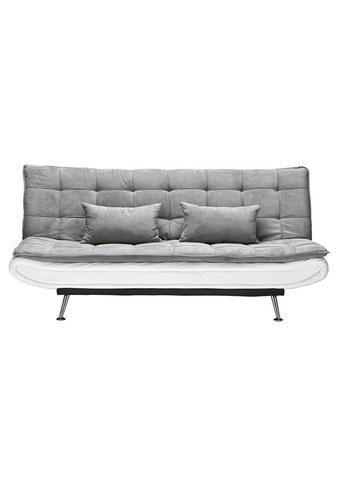 Schlafsofa in Grau mit Bettfunktion - Silberfarben/Weiß, Holz/Textil (196/92/98cm) - Modern Living