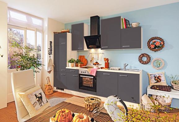 Küchenblock Milano Anthrazit/Eiche - Eichefarben/Anthrazit, MODERN, Holzwerkstoff (220cm)