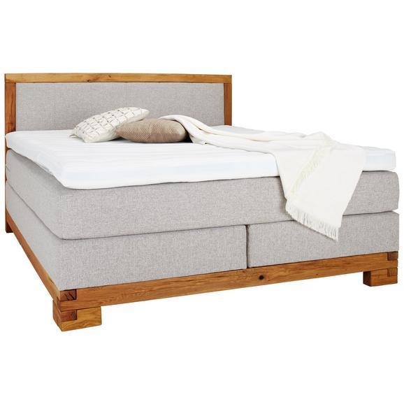 Boxspringbett aus Eiche massiv ca. 180x200cm - Eichefarben/Grau, KONVENTIONELL, Holz/Textil (180/200cm) - Zandiara