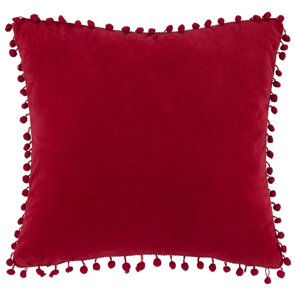 Zierkissen Pompon Rot 45x45cm