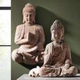 Wanddeko Buddha Schwarz/Braun - Rostfarben/Braun, Stein (72/11,5/43cm) - Mömax modern living