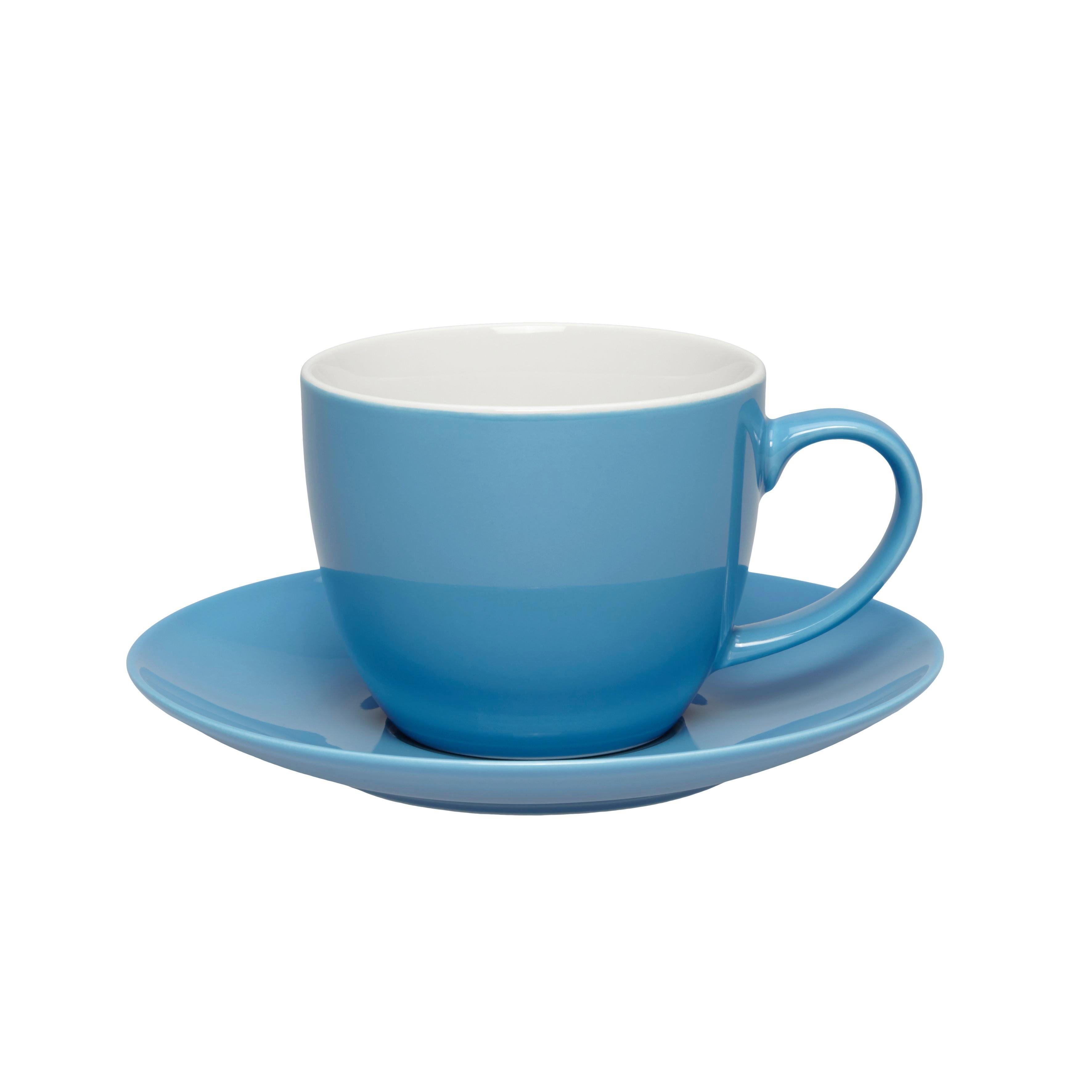 Kaffeetasse mit Untertasse Sandy in Türkis aus Keramik - Türkis, KONVENTIONELL, Keramik (5/6,9cm) - MÖMAX modern living