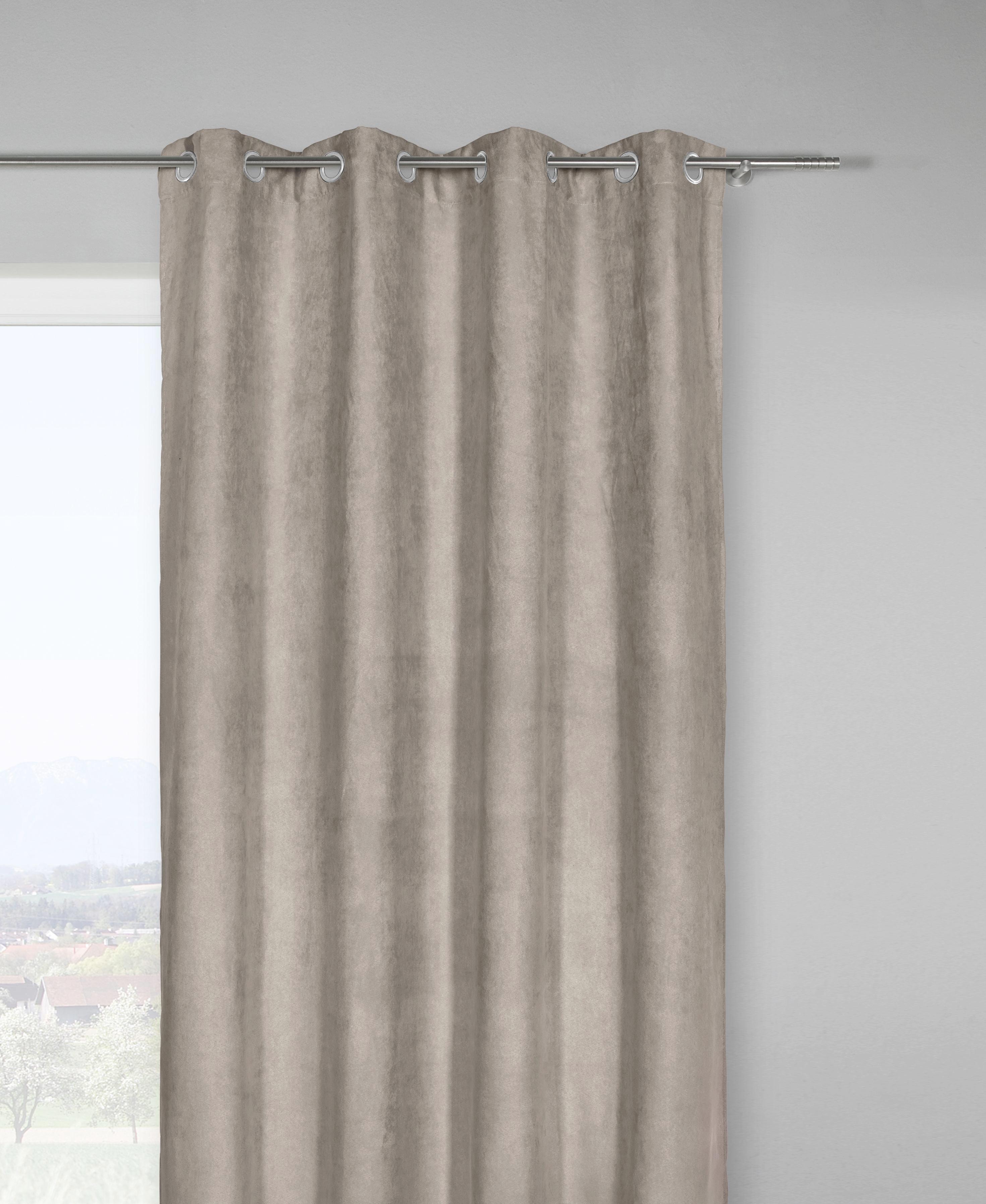 Fertigvorhang Velours in Grau, ca. 140x245cm - Grau, KONVENTIONELL, Textil (140/245cm) - MÖMAX modern living