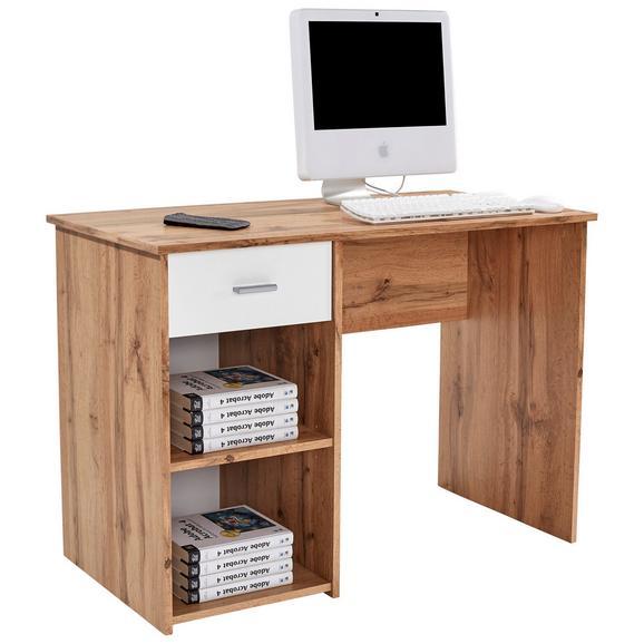 Masă De Birou Kubek - alb/culoare lemn stejar, Modern, compozit lemnos (110/75/50cm)