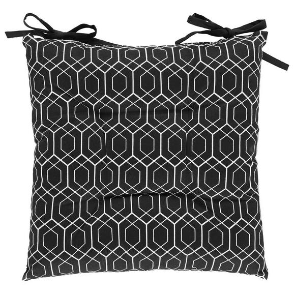 Sitzkissen Blacky in Schwarz/Weiß - Schwarz/Weiß, LIFESTYLE, Textil (40cm) - Mömax modern living
