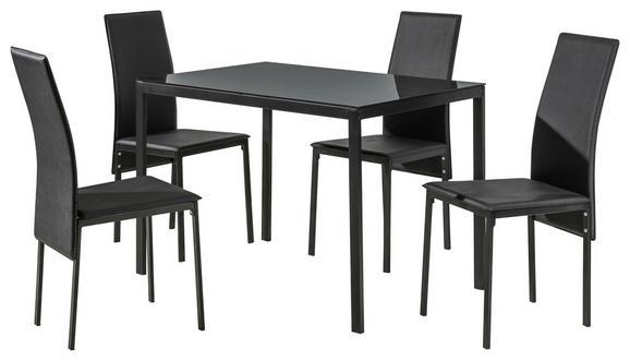Étkezőgarnitúra Mathilde - fekete, konvencionális, üveg/textil (110/41/75/92/70/51cm)