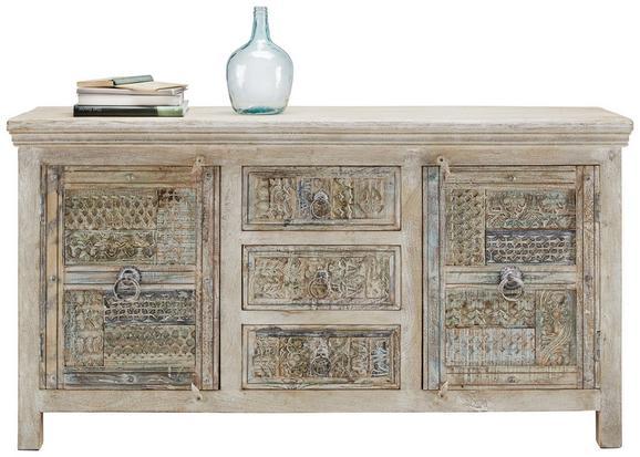 Sideboard in Weiß/Blau - Blau/Braun, Holz/Metall (170/90/45cm) - PREMIUM LIVING