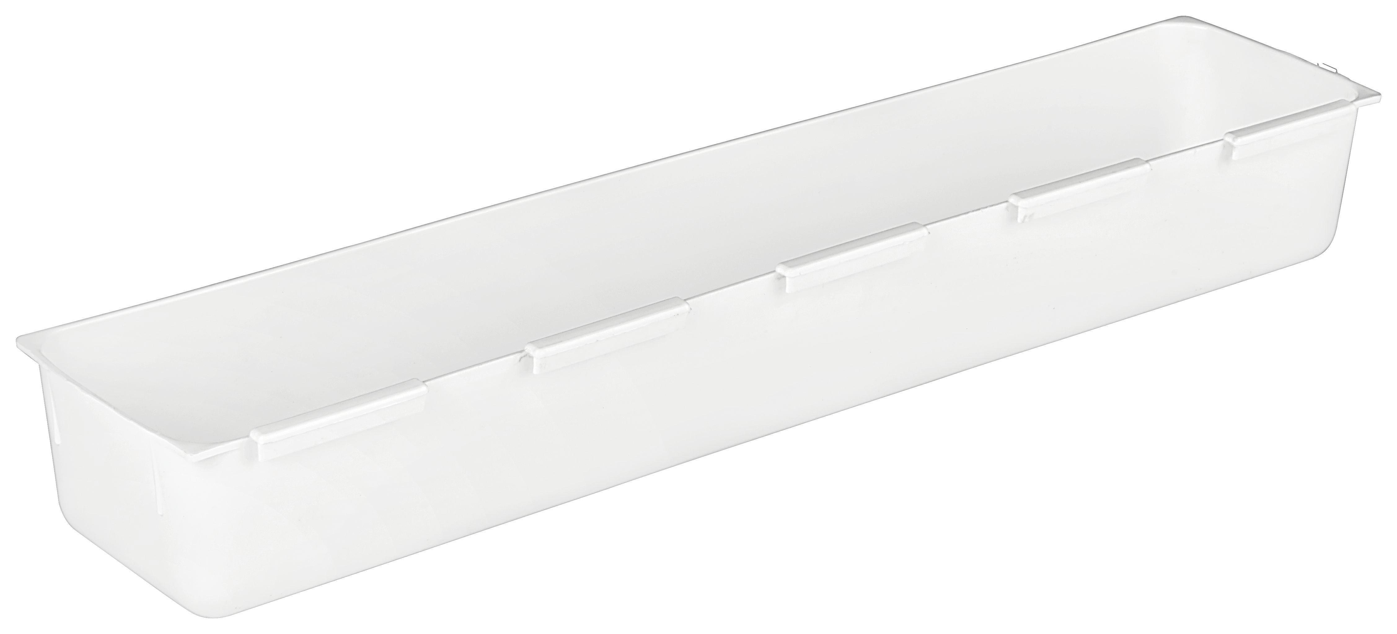 Schubladenbox Wanda in Weiß, ca. 7,5x37,5cm - Weiß, Kunststoff (7,5/37,5cm)