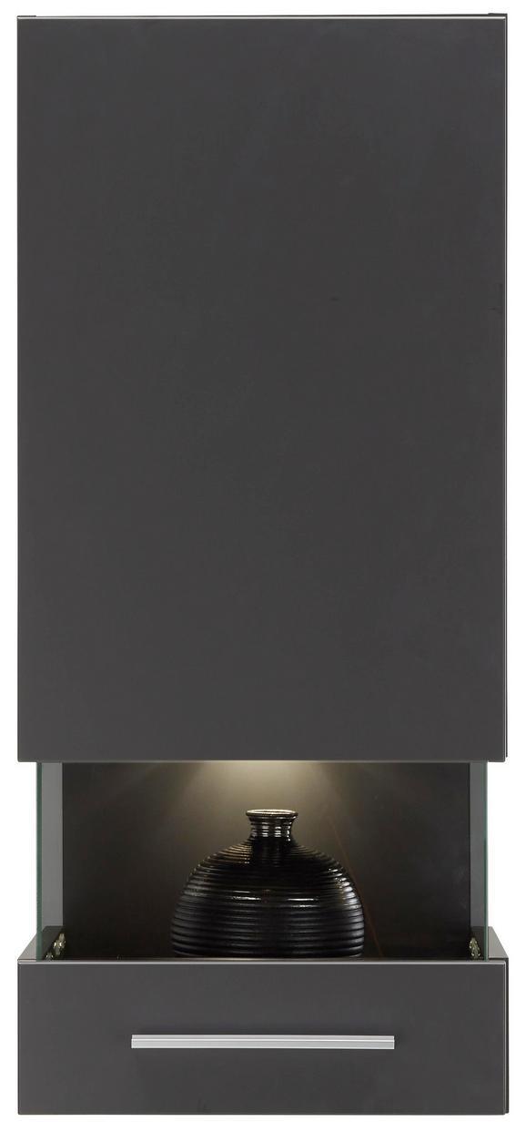 Vitrine Graphitfarben Matt - Chromfarben/Graphitfarben, MODERN, Holzwerkstoff/Kunststoff (40/201/37cm) - MODERN LIVING