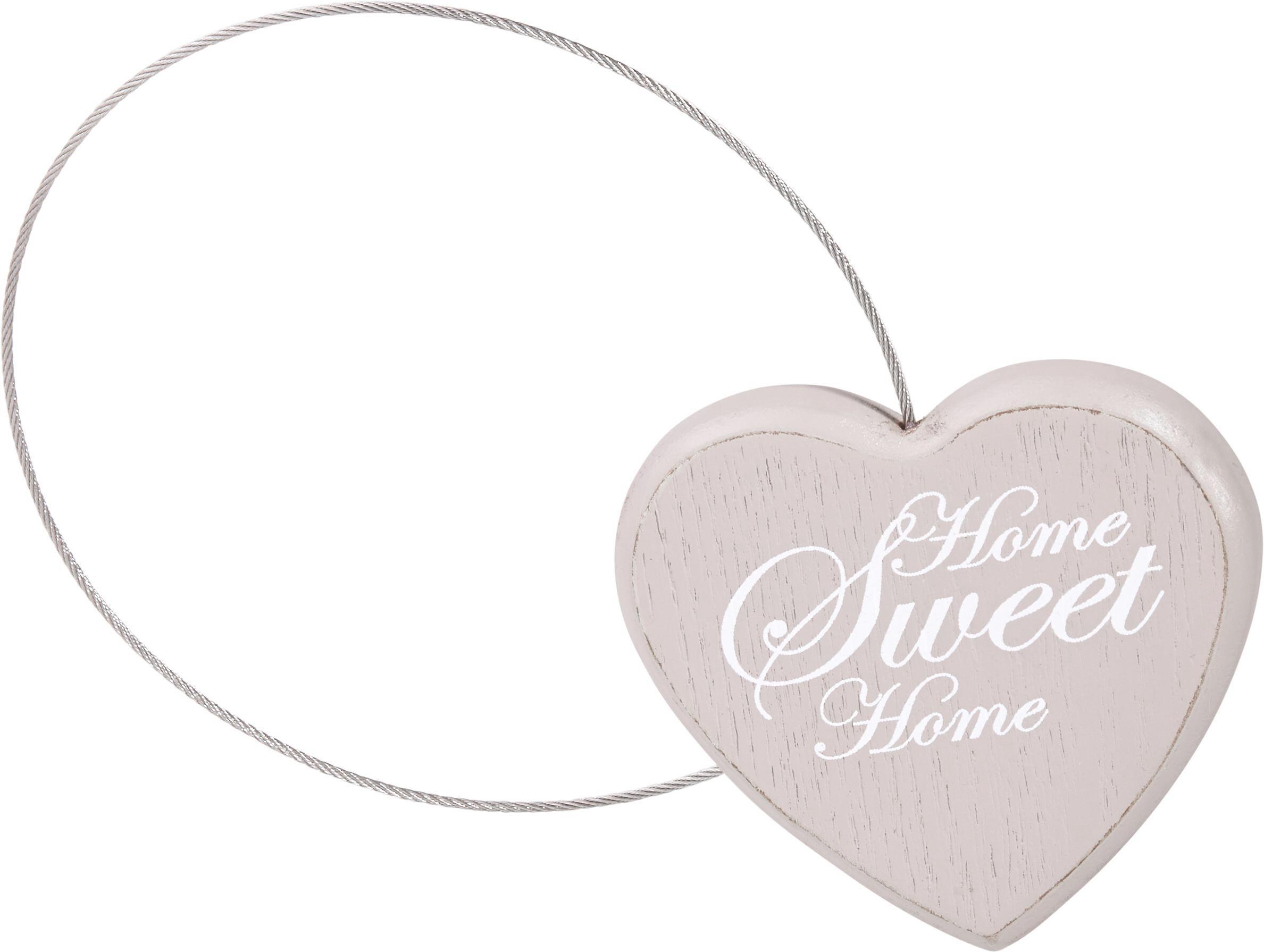 Függönyelkötő Sweet Home - szürkésbarna/fehér, romantikus/Landhaus, fa (8cm) - MÖMAX modern living